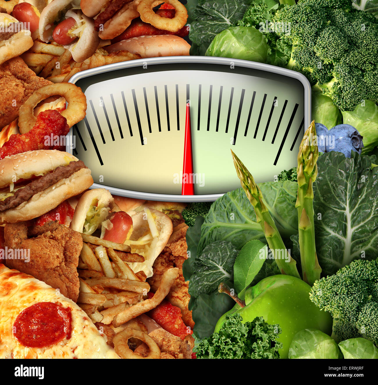 Dieting choice weight scale with unhealthy junk food on one side and healthy fruit and vegetables on the other half - Stock Image