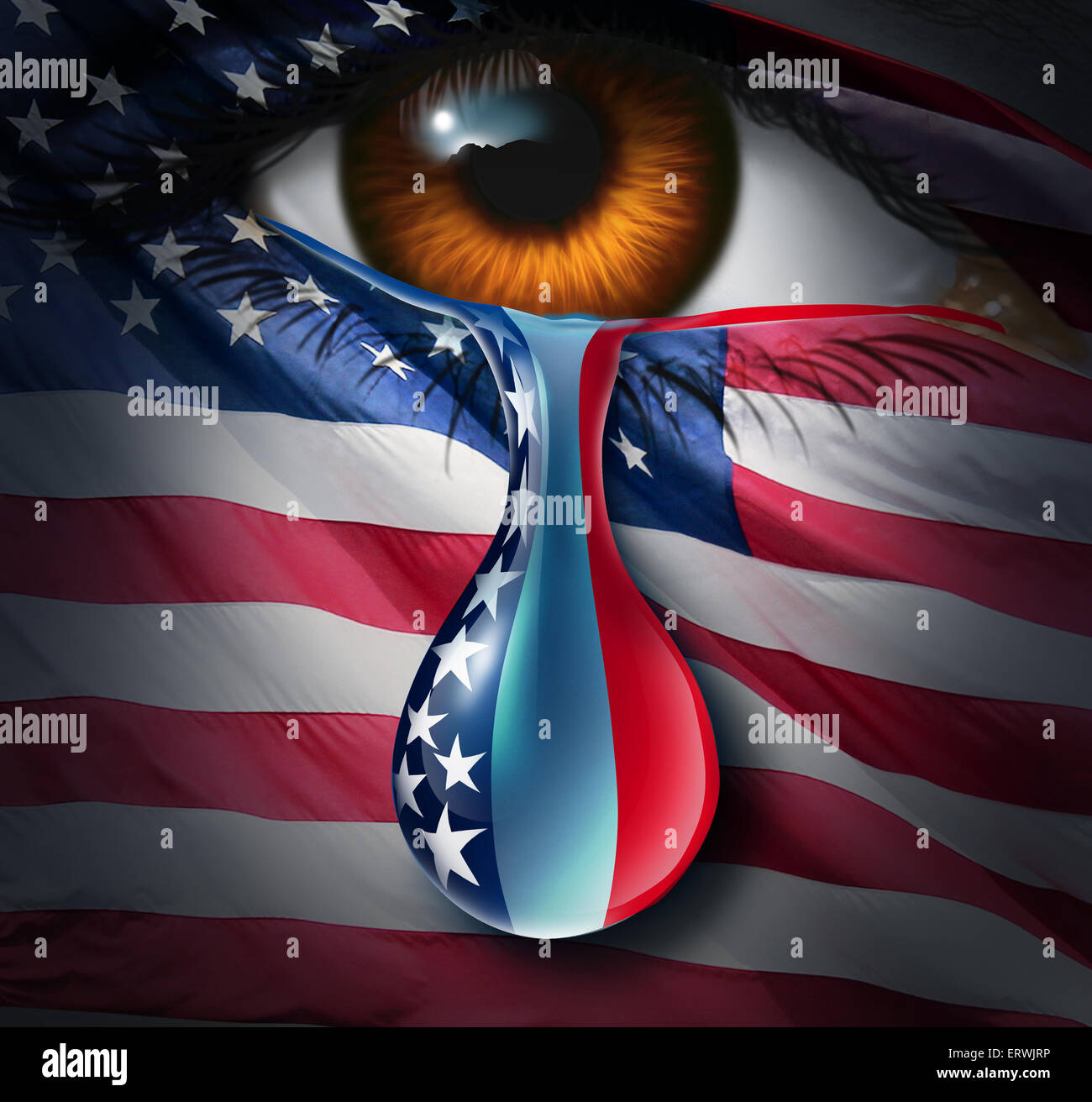 American social crisis and grief or violence in the United States concept as a human eye with a US flag crying a - Stock Image