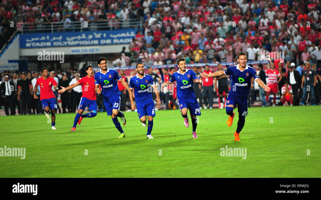 Tunis, Tunisia. 7th June, 2015. Players of Club Al Ahly d' Egypte celebrate their victory after the eighth-final - Stock Image