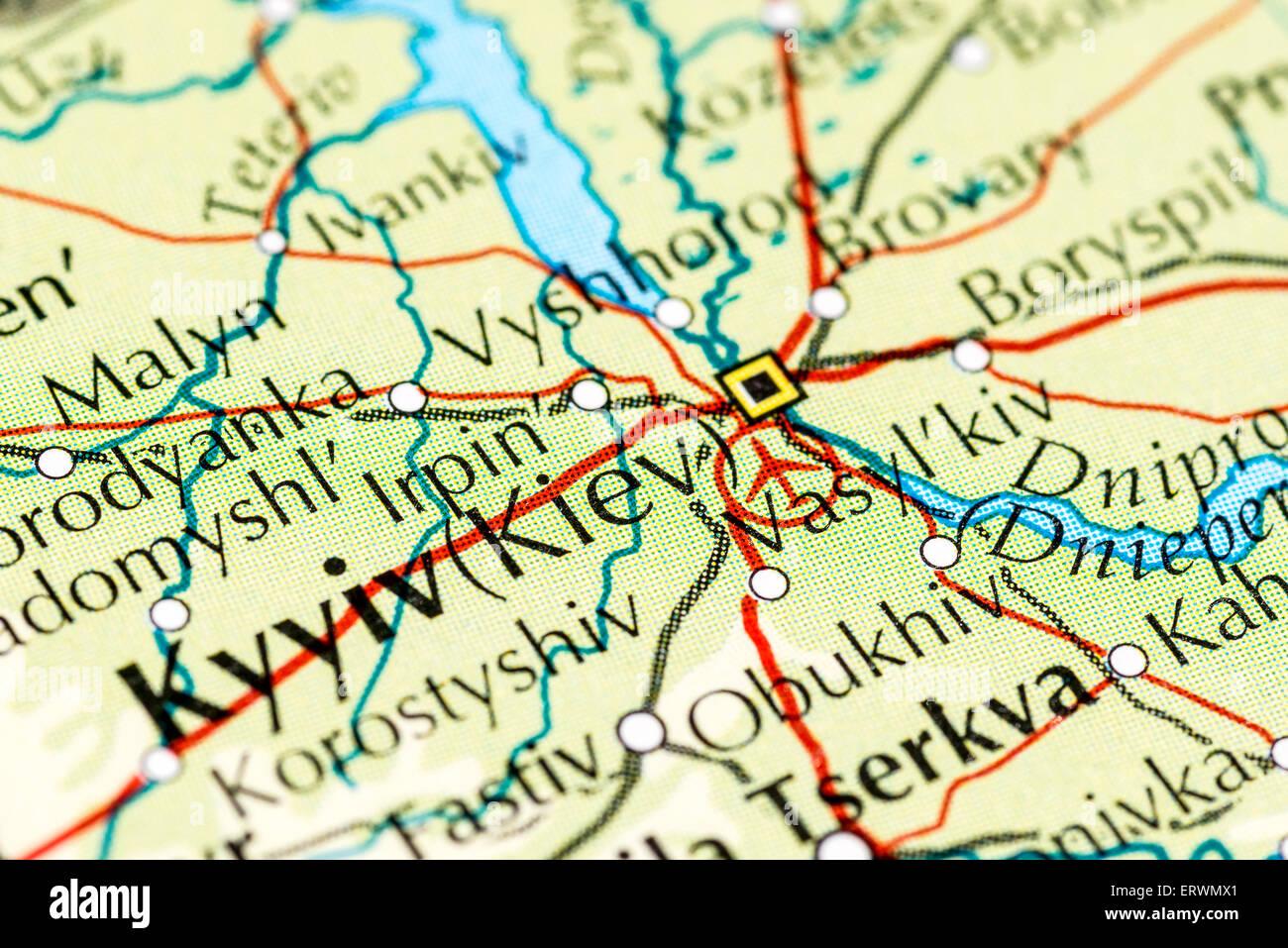 Kiev Ukraine Europe Map Stock Photos Kiev Ukraine Europe Map Stock