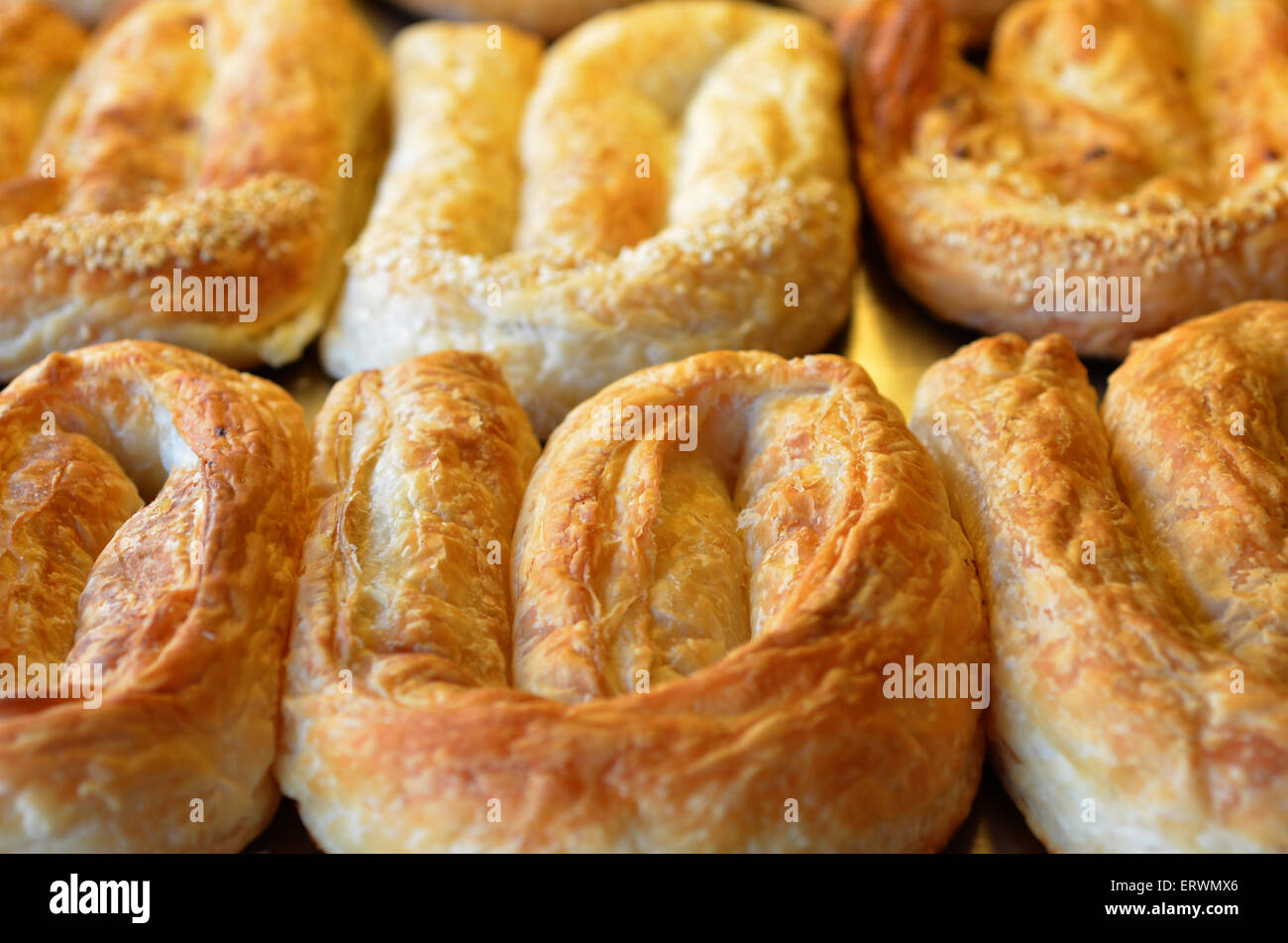 Balkans pastry borek on display in a bakery, food background and texture Stock Photo