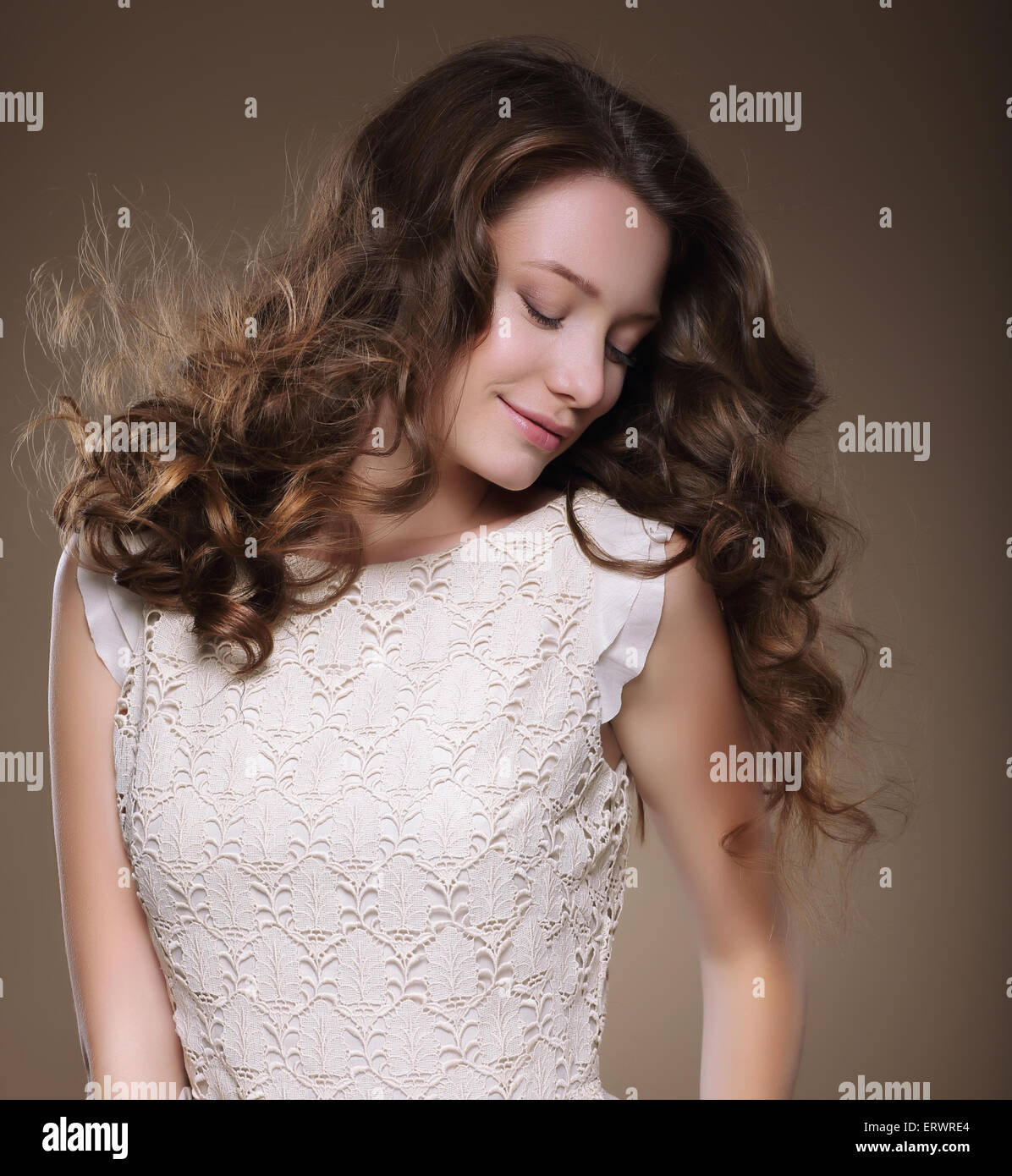 Pure Beauty. Young Brunette with Closed Eyes - Stock Image