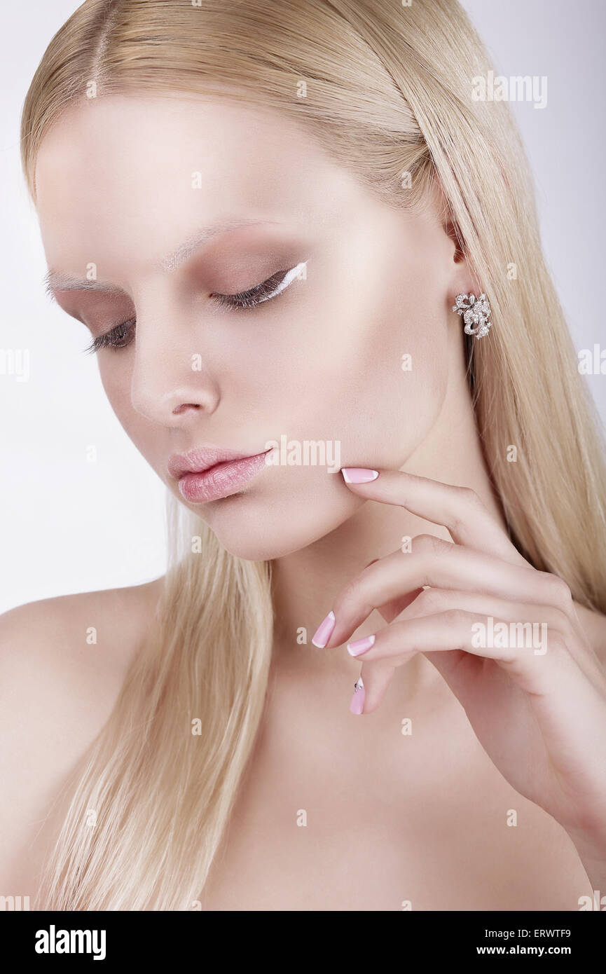 Portrait of Thoughtful Gorgeous Blond Woman - Stock Image
