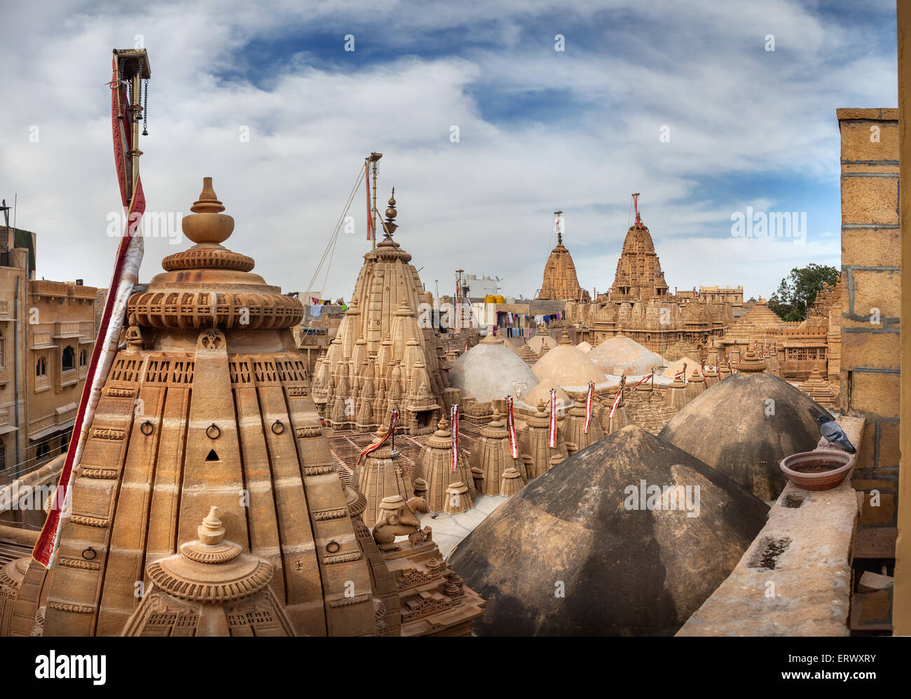 Jain temples from the top view in Jaisalmer fort, Rajasthan, India - Stock Image