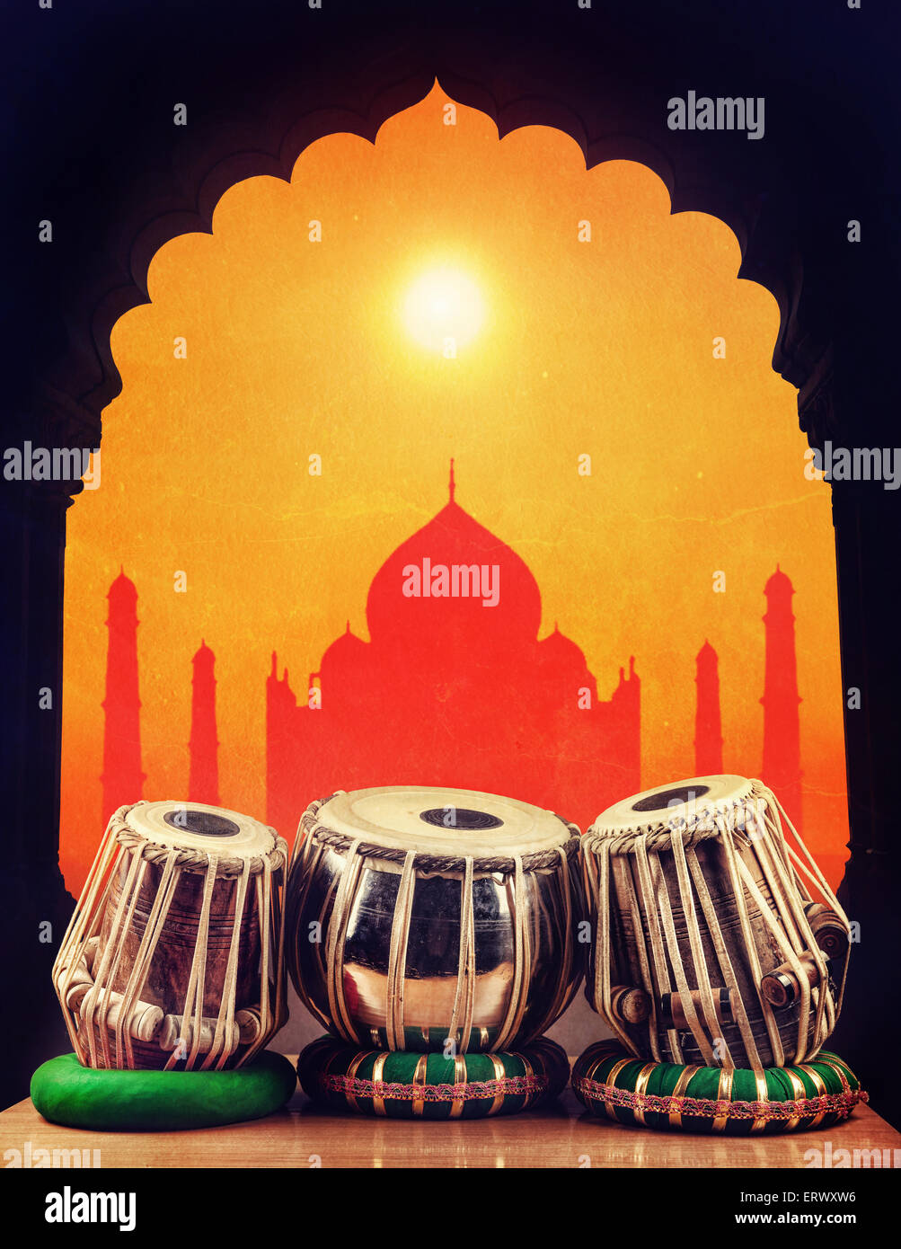 Indian classical music instrument tabla drums at Taj Mahal background in India - Stock Image