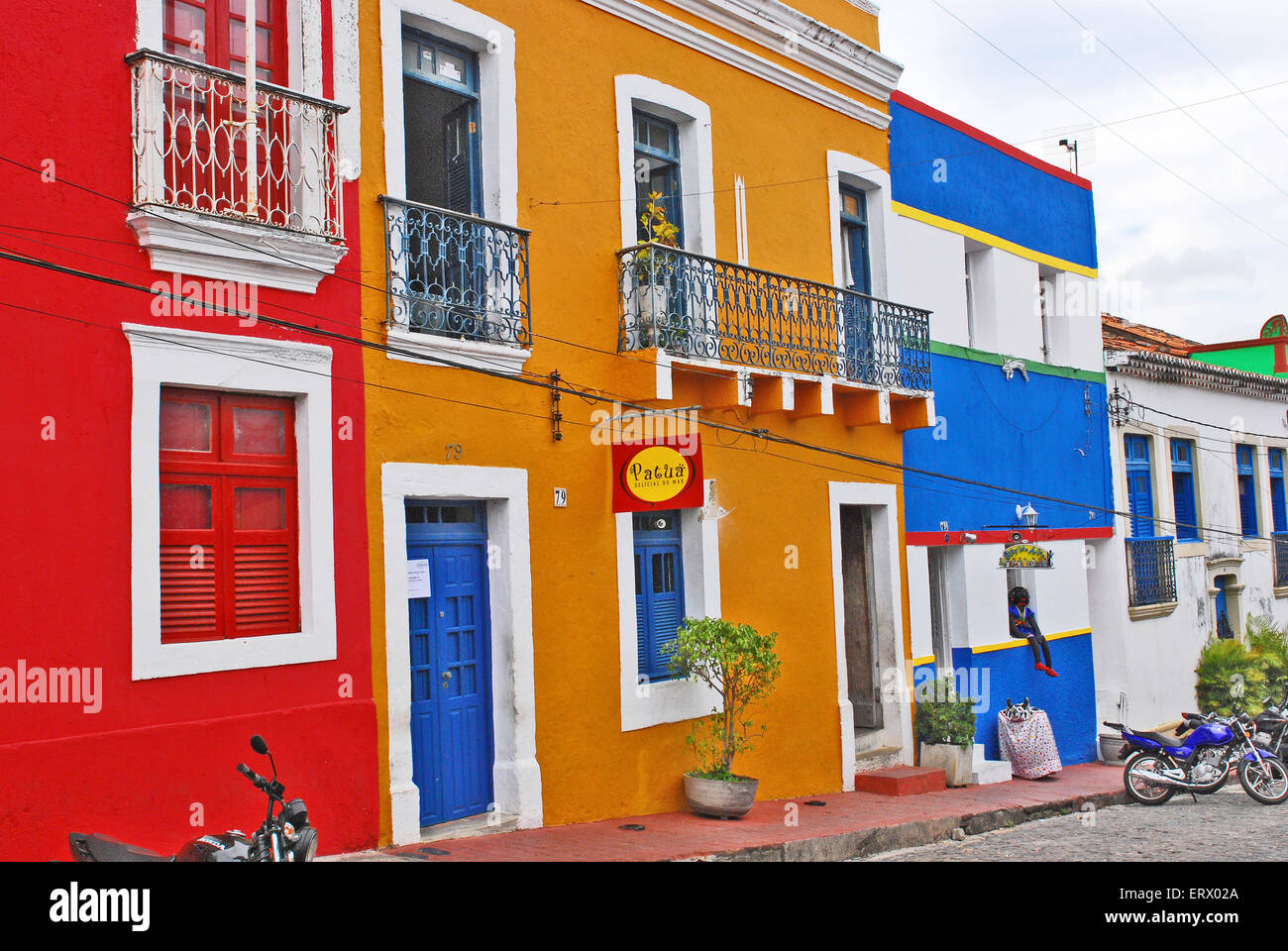 Beautiful colourful houses in Olinda, Recife, Brazil, on September 1st, 2009. - Stock Image