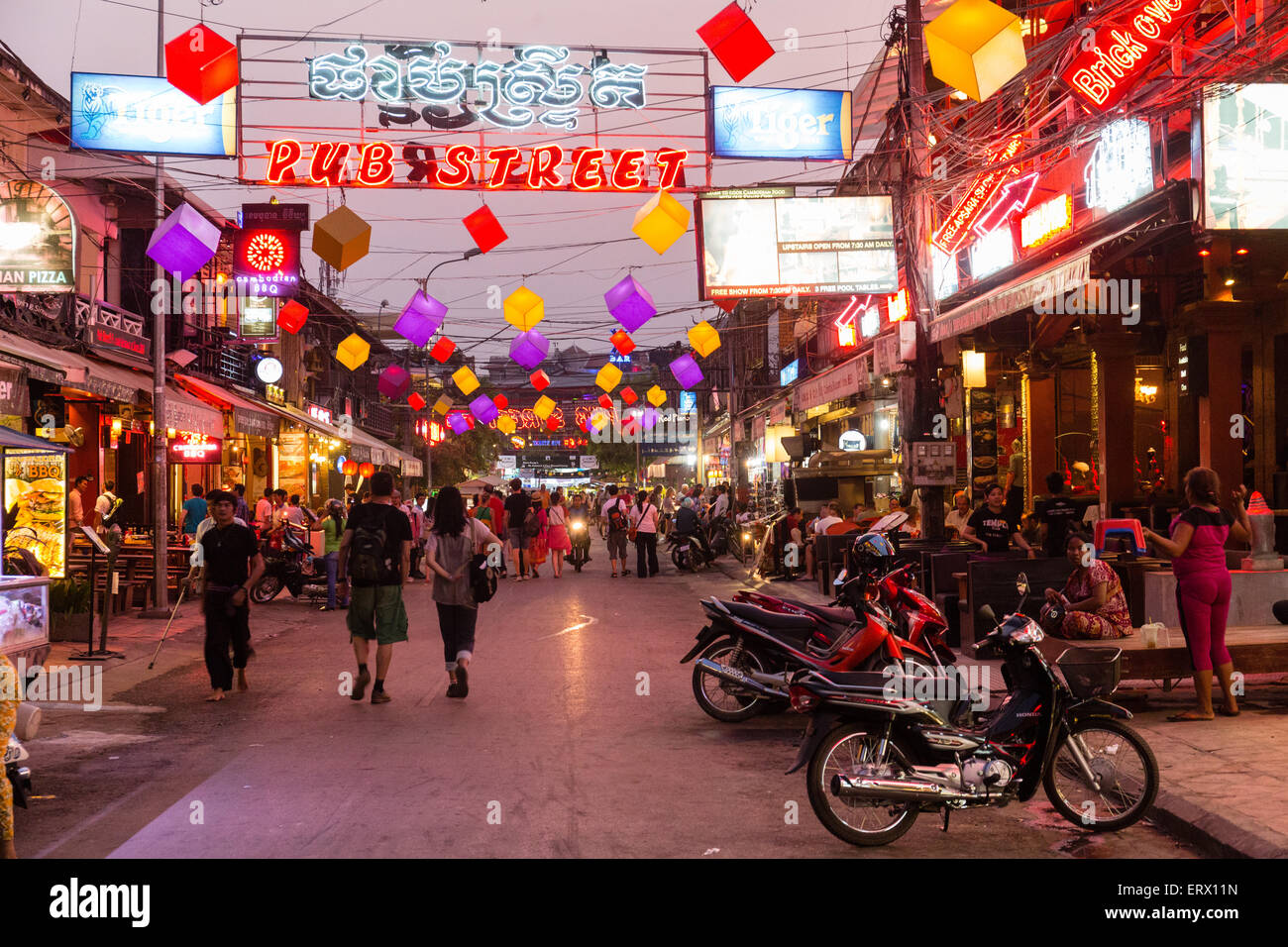 Pub Street at night, nightlife, Angkor, Siem Reap, Cambodia - Stock Image