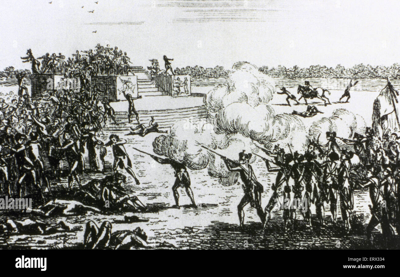 French Revolution (1789-1799). Champ de Mars Massacre (July 17, 1791). Anonymous. Engraving. Stock Photo