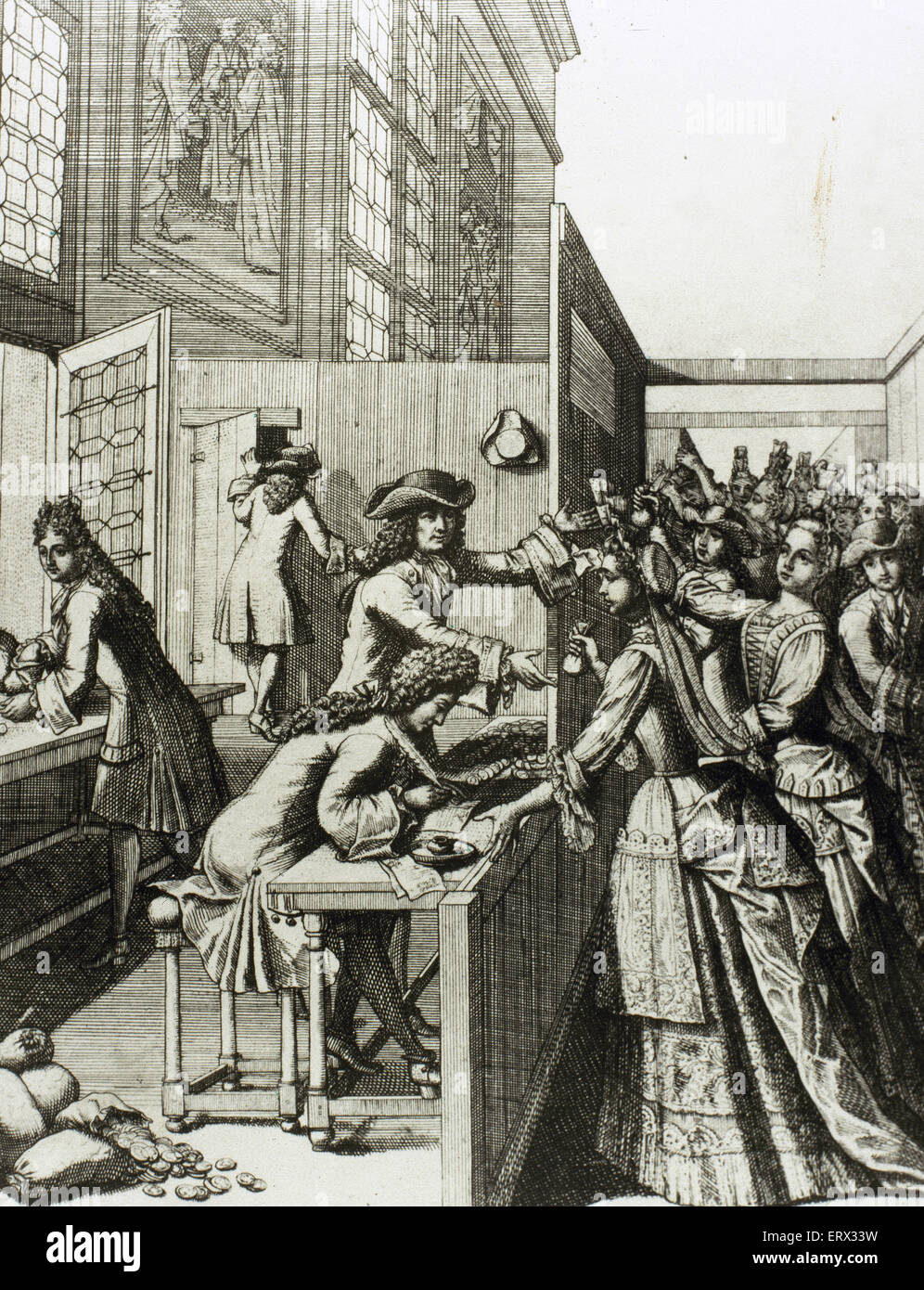 History of France. 18th century. Tributes to the King. The people of France paying their taxes. Engraving. - Stock Image