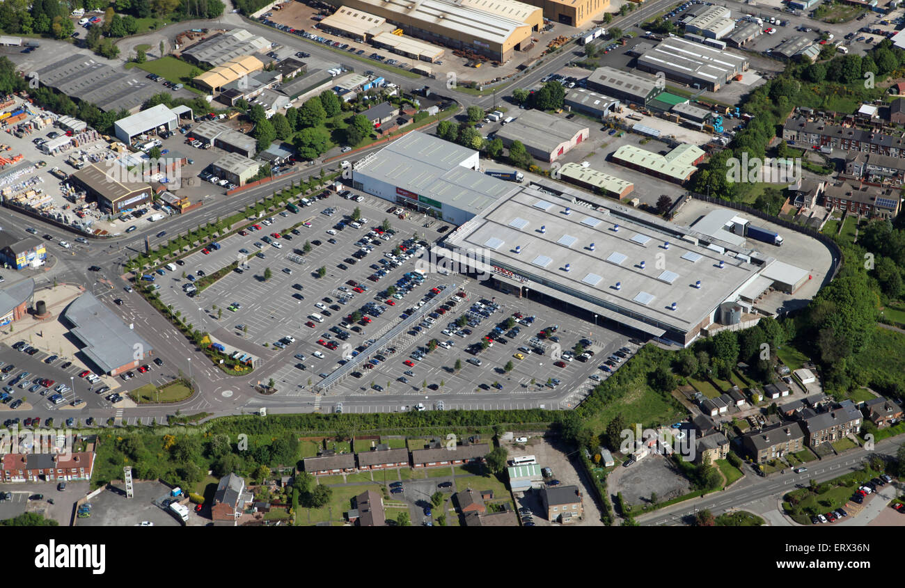 aerial view of Tesco Extra supermarket at Clay Cross near Chesterfield, UK - Stock Image