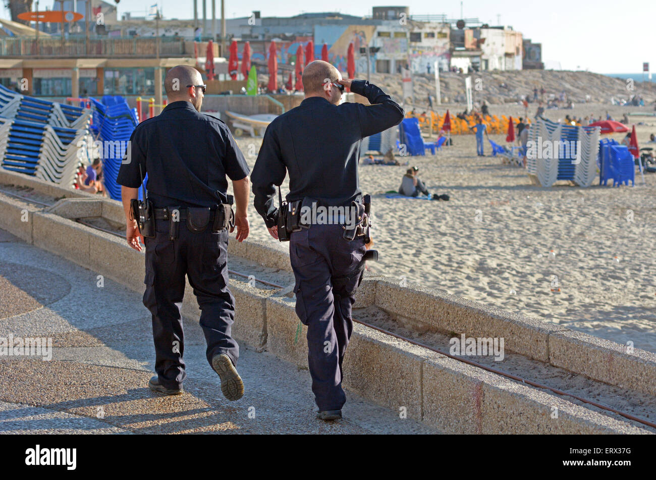 TEL AVIV, ISR - APR 07 2015:Two Israel Police officers patrolling on Tel Aviv waterfront.The Israel Police are a - Stock Image