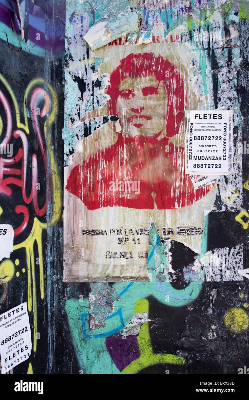 Graffiti in Barrio Brasil, Santiago, Chile - Stock Image