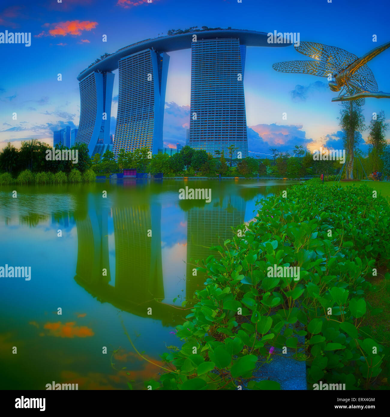 SINGAPORE-MAY 29: Evening view of Dragonfly pond, and Marina Bay Sands at Gardens by the Bay on May 29, 2015 in - Stock Image