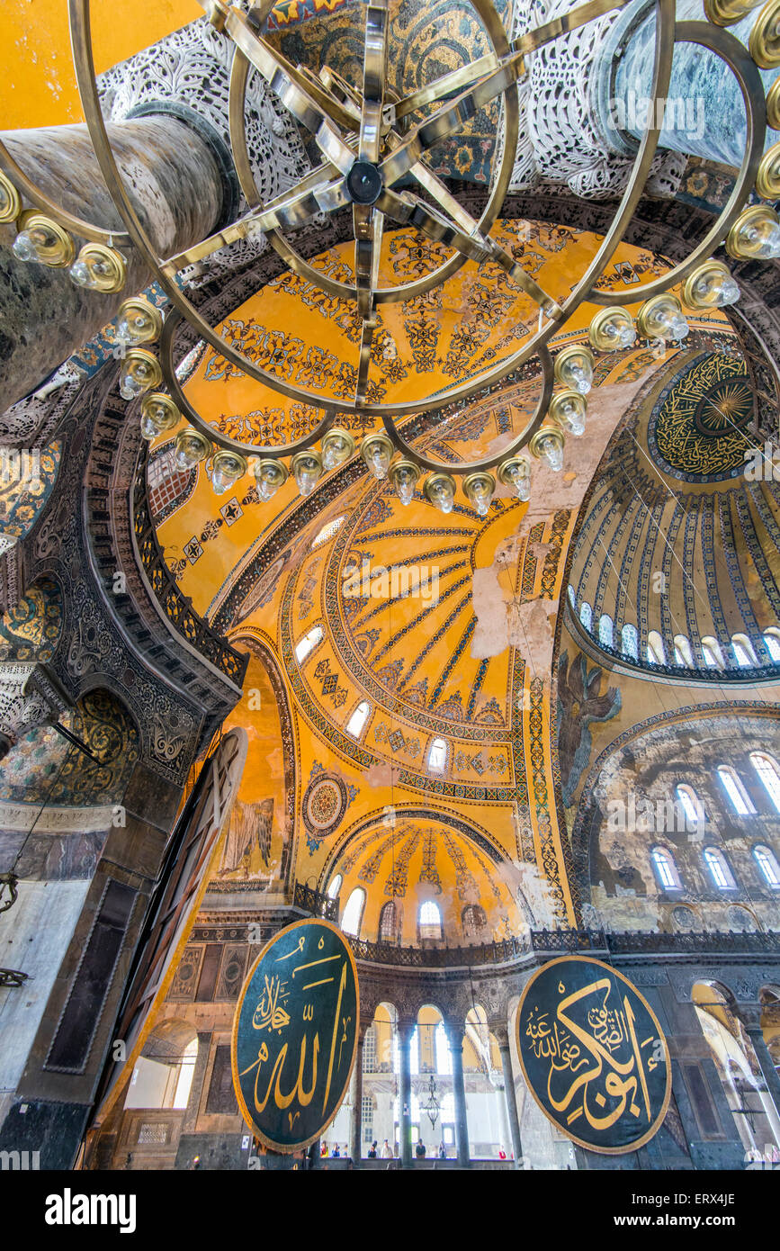 Interior view of Hagia Sophia with Ottoman medallion, Sultanahmet, Istanbul, Turkey - Stock Image