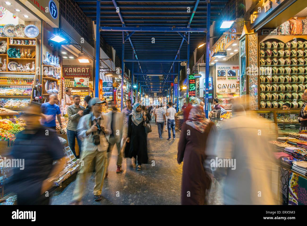 Interior view of the Spice Bazaar or Egyptian Bazaar, Istanbul, Turkey - Stock Image