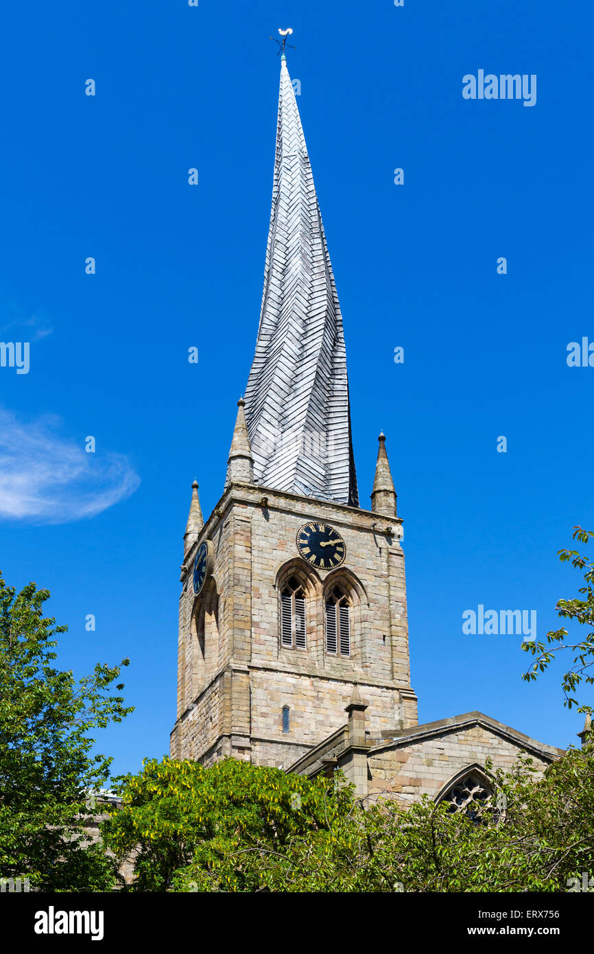 The Crooked Spire of the Church of St Mary and All Saints, Chesterfield, Derbyshire, England, UK - Stock Image