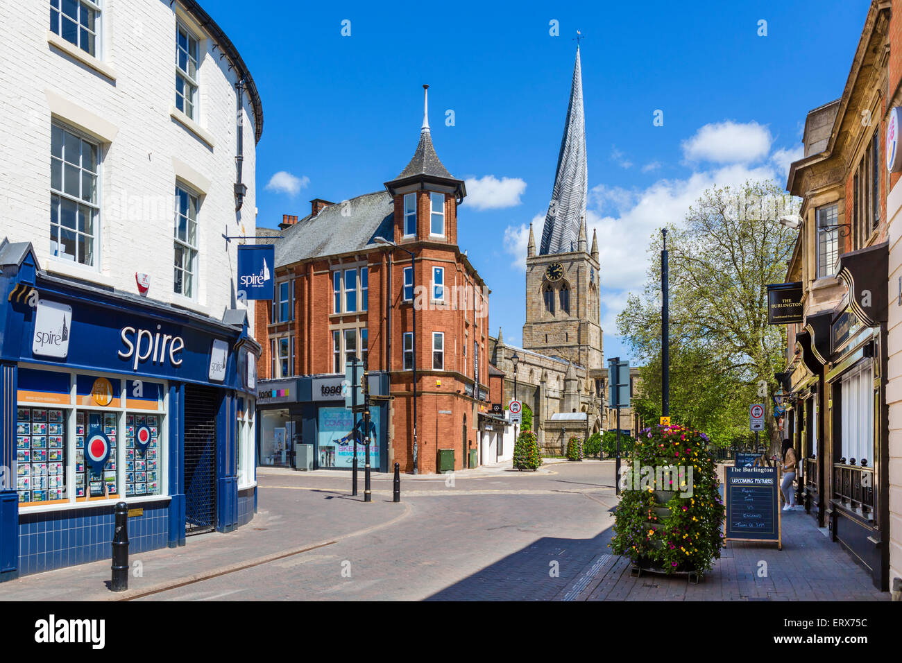 Burlington St in town centre looking towards Church of St Mary & All Saints with its Crooked Spire, Chesterfield, - Stock Image