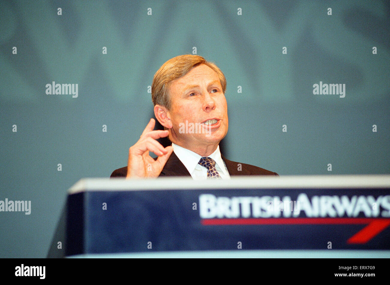 British Airways Chairman Colin Marshall give his account of the Virgin 'dirty tricks' saga during the companies - Stock Image