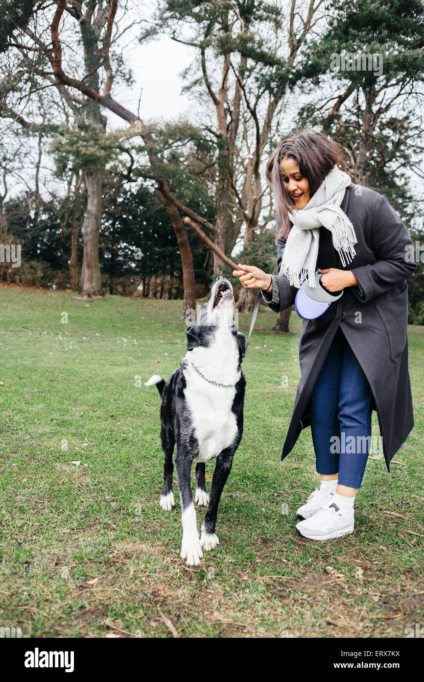 Full length of woman playing with mixed-breed dog at park - Stock Image