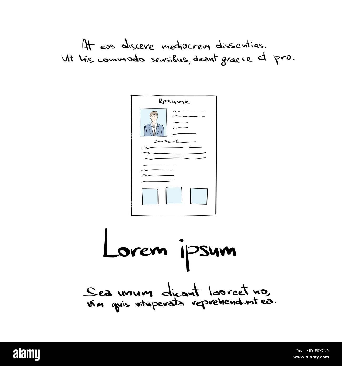 Curriculum Vitae Document Hand Draw Resume Cv Profile Stock Vector