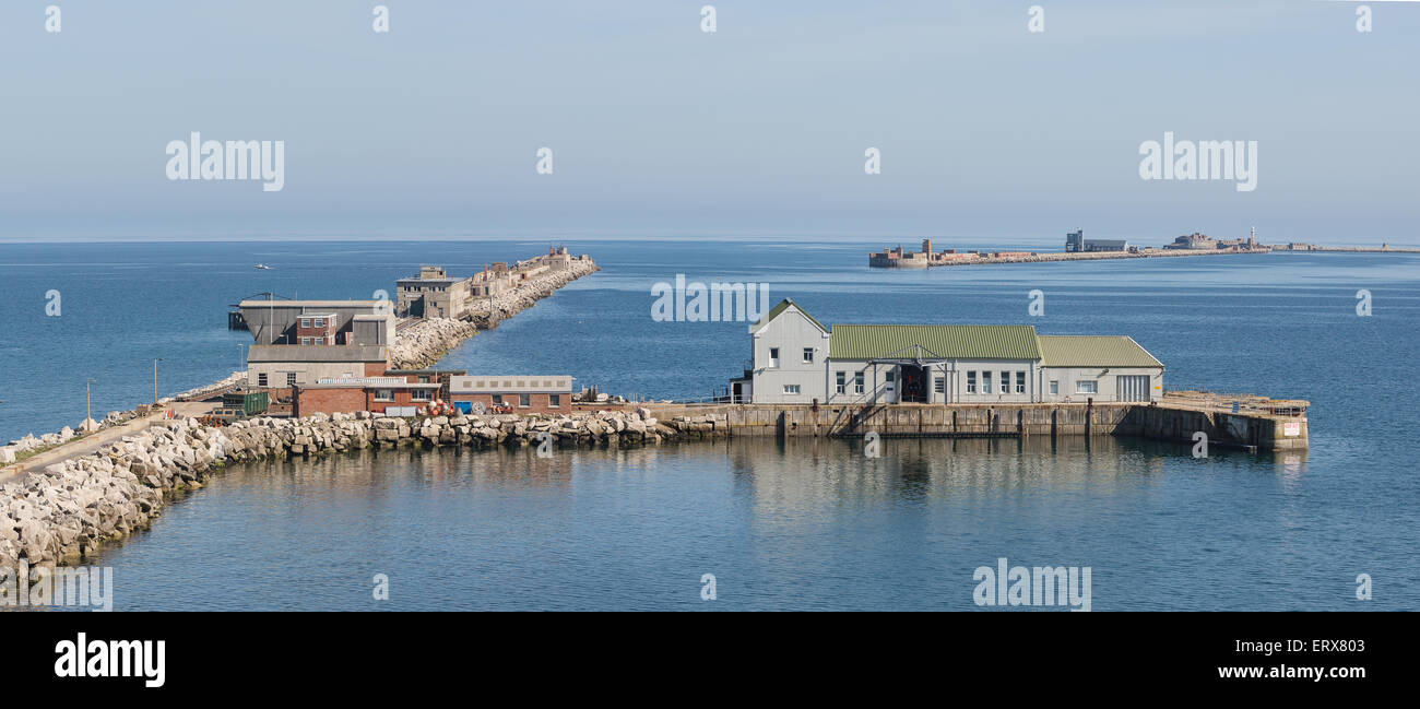 Panorama of Northern Arm and Middle Arm of Portland Harbour Breakwater in Dorset England - Stock Image