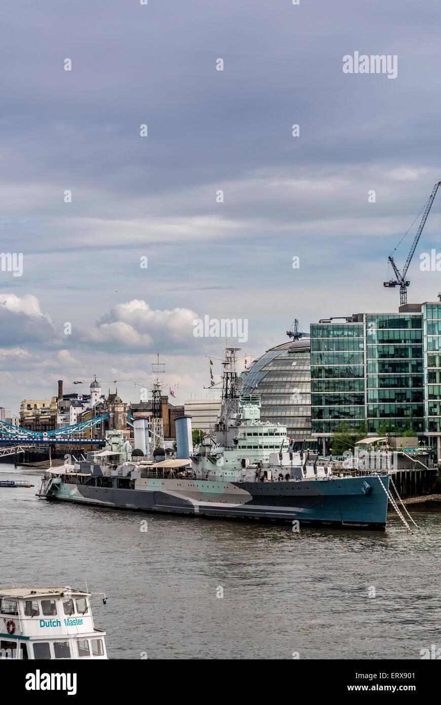 HMS Belfast on the River Thames, London, UK. - Stock Image