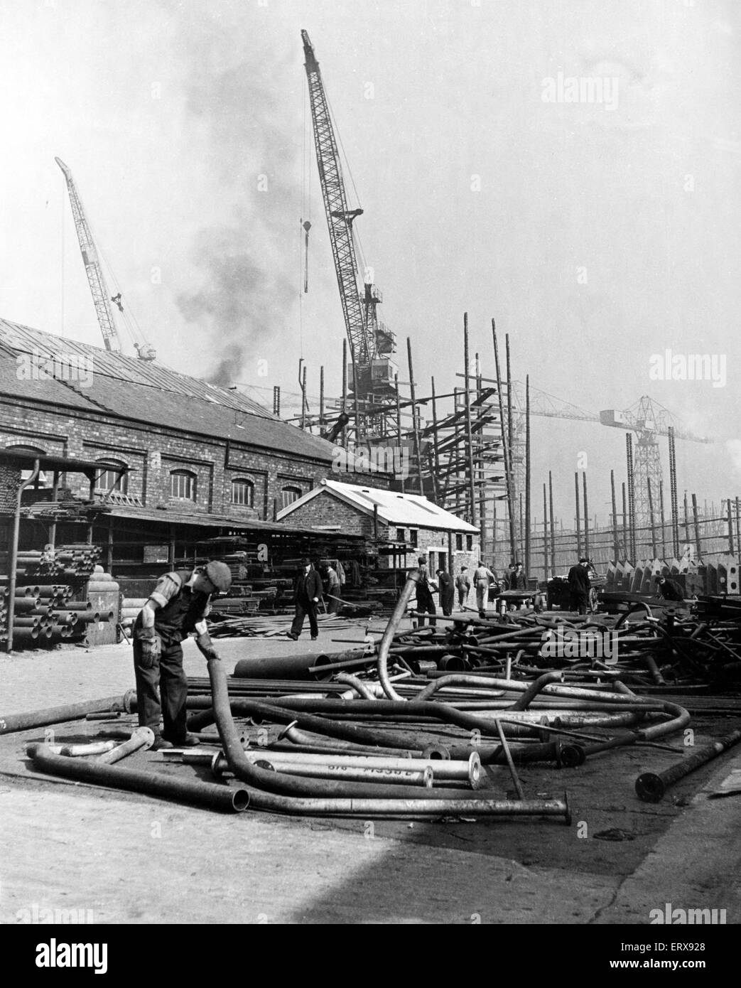 Part of the tremendous stores of Stephen and Sons Ltd shipyard, Glasgow. This was a Scottish shipbuilding company - Stock Image