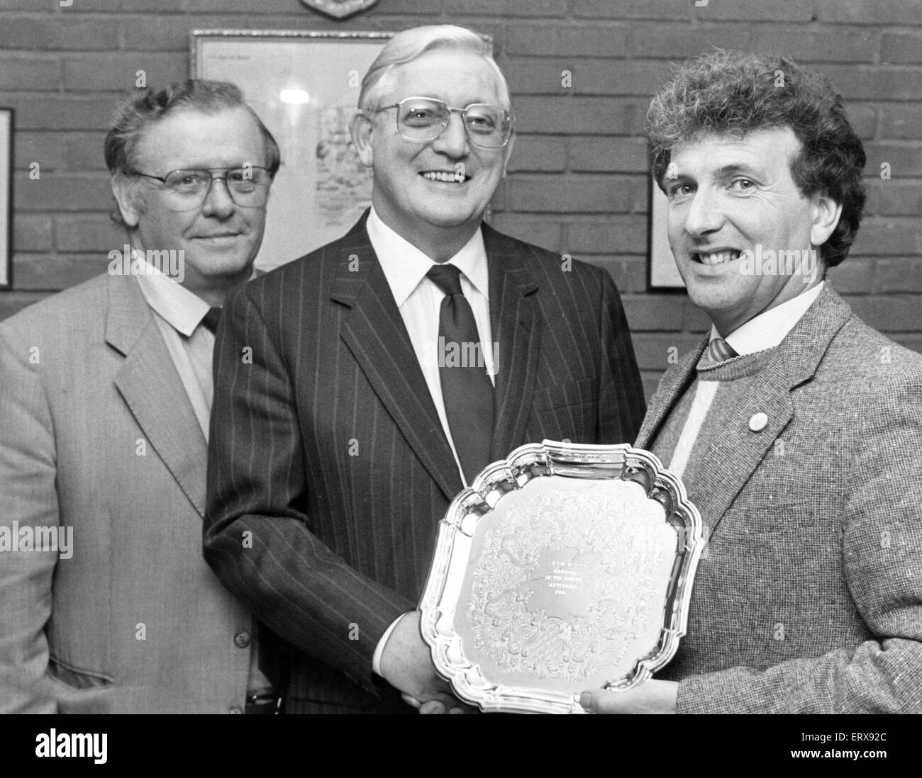 Alvechurch reserve team manager Ivor Chambers is presented with the Midland Combination Manager of the month award - Stock Image