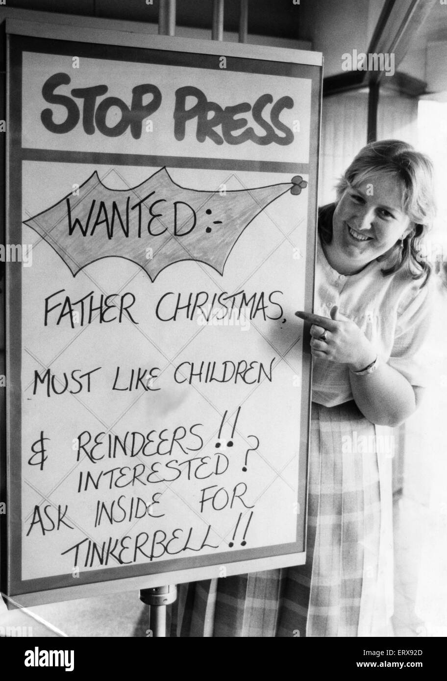 Shirley Jeffrey from Lord Street Job Centre with the Santa wanted sign. 11th October 1984 - Stock Image