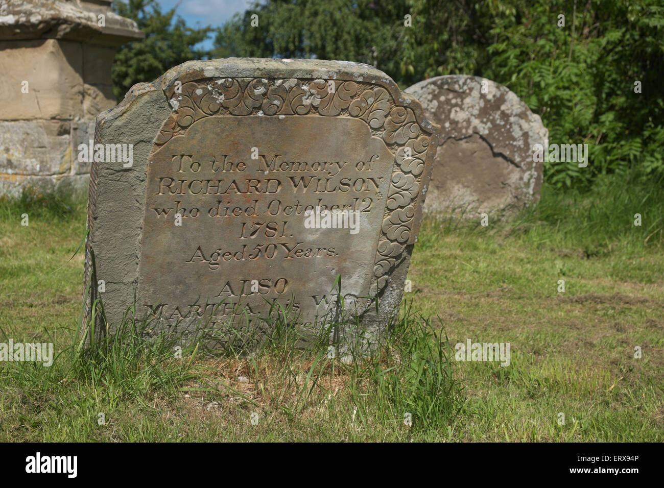 Presteigne Powys Wales old Georgian grave headstone dated 1781 from the reign of King George III in churchyard of - Stock Image