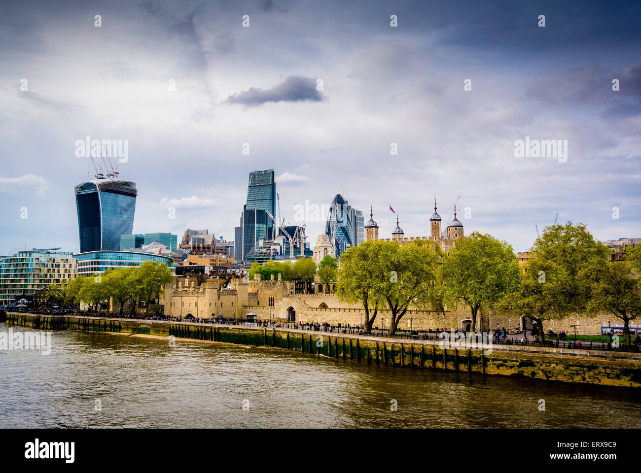 The Tower of London with the Gherkin and The Walkie Talkie in the background. - Stock Image