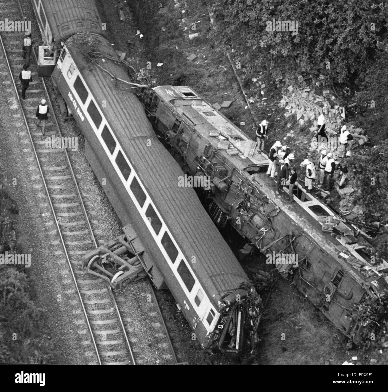 Polmont train accident: On Monday 30 July 1984 a westbound express train the 17:30 service from Edinburgh Waverley - Stock Image
