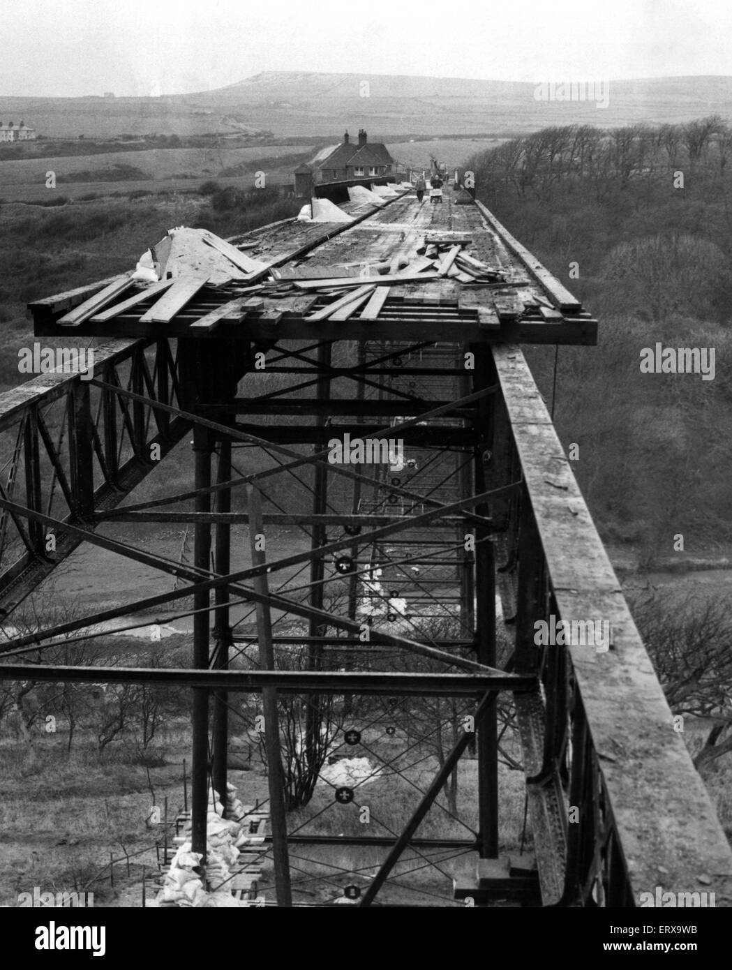 Its the end of the line for Saltburn's halfpenny bridge - and the cost of the toppling the 105-year-old structure Stock Photo