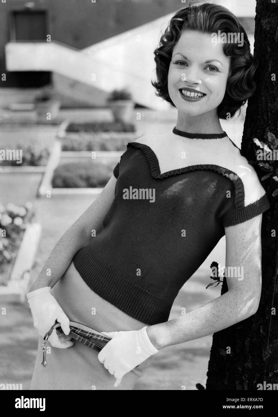 A woman modelling Knitwear.  August 1956 - Stock Image