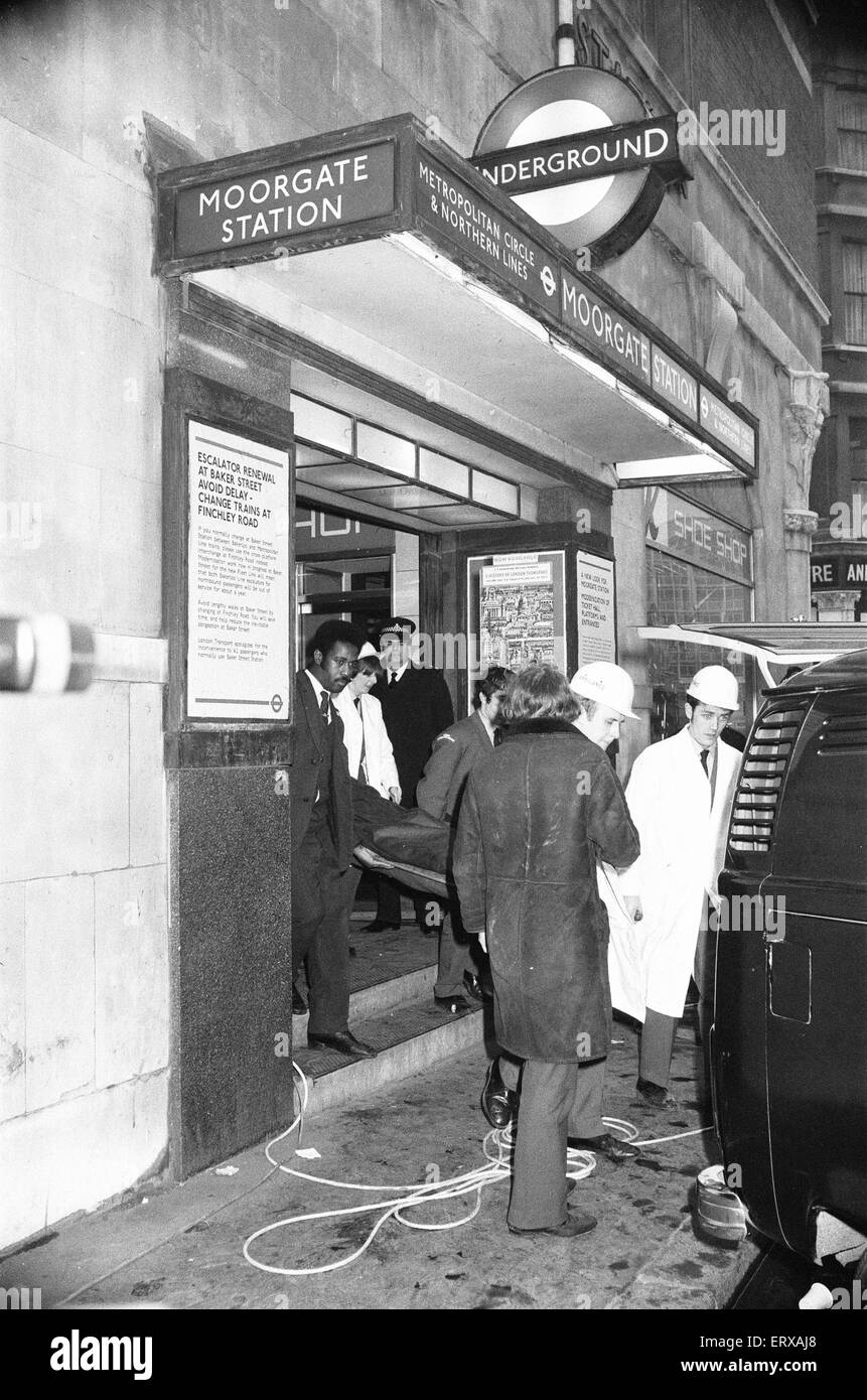 The Moorgate tube crash occurred on Friday 28 February 1975 at 08:46 on the Northern Line (Highbury Branch). A southbound - Stock Image