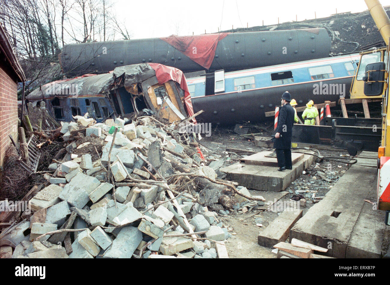 Purley  train crash On 4 March 1989 the 12:50 from Horsham stopped at Purley railway station. As it left the station, - Stock Image