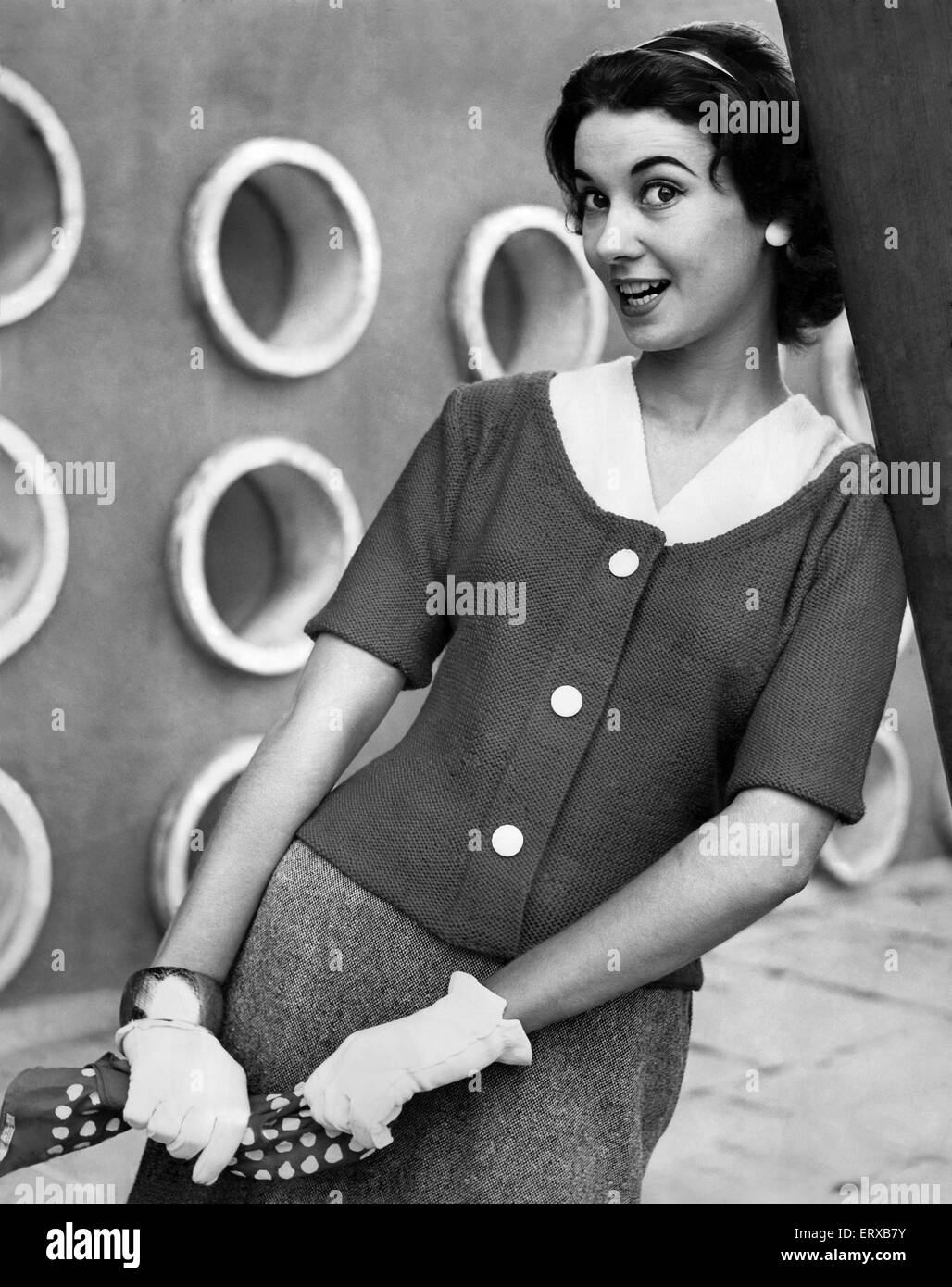 A woman modelling Knitwear. September 1956 Stock Photo