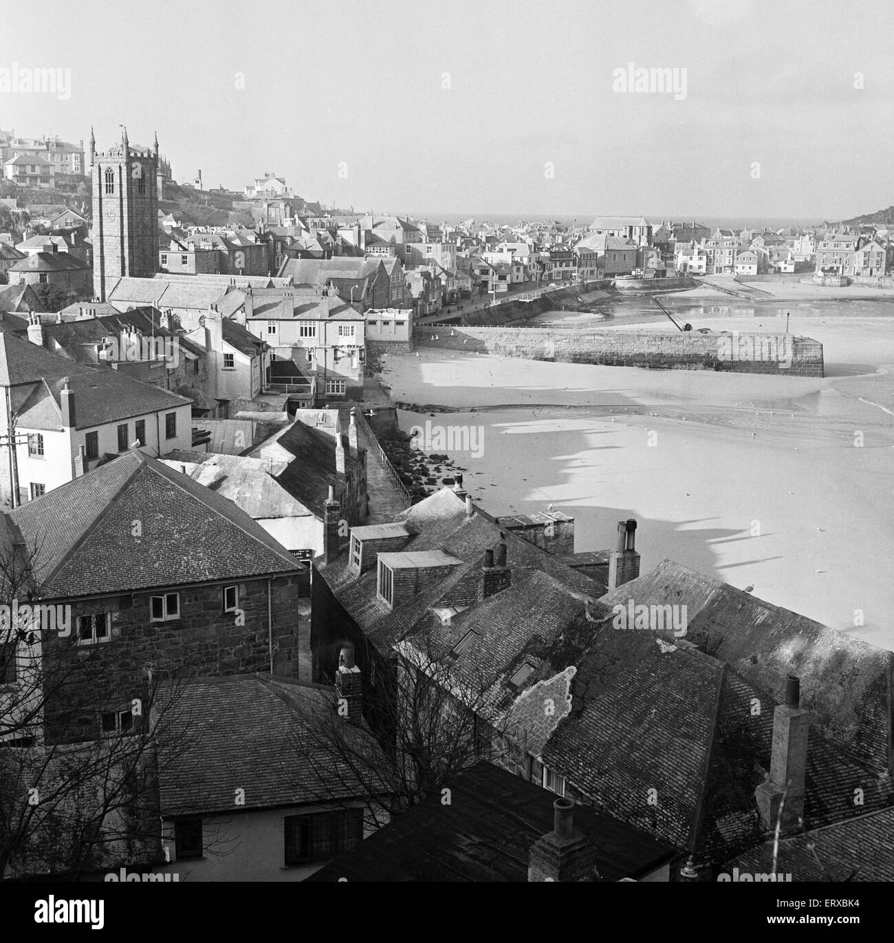 General view of St Ives, Cornwall. 15th February 1954. - Stock Image