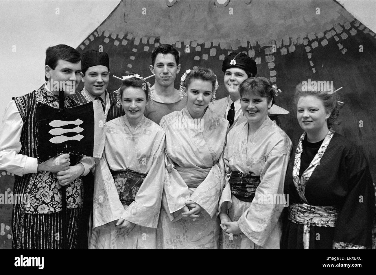 All Saints High School, Bradley present final production of G&S Mikado. 11th December 1991. - Stock Image