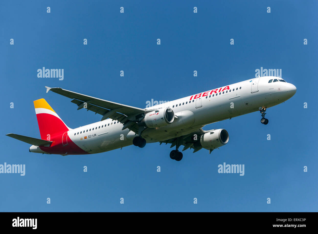 Airbus A321 operated by Iberia on approach for landing Prague, Czech Republic - Stock Image