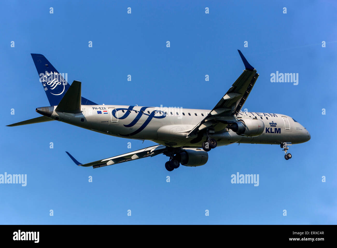 EMBRAER 190 operated by KLM CITYHOPPER on approach for landing Prague, Czech Republic - Stock Image