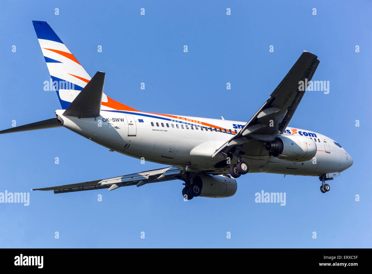 Boeing 737 operated by Smartwings approach for landing Prague, Czech Republic - Stock Image