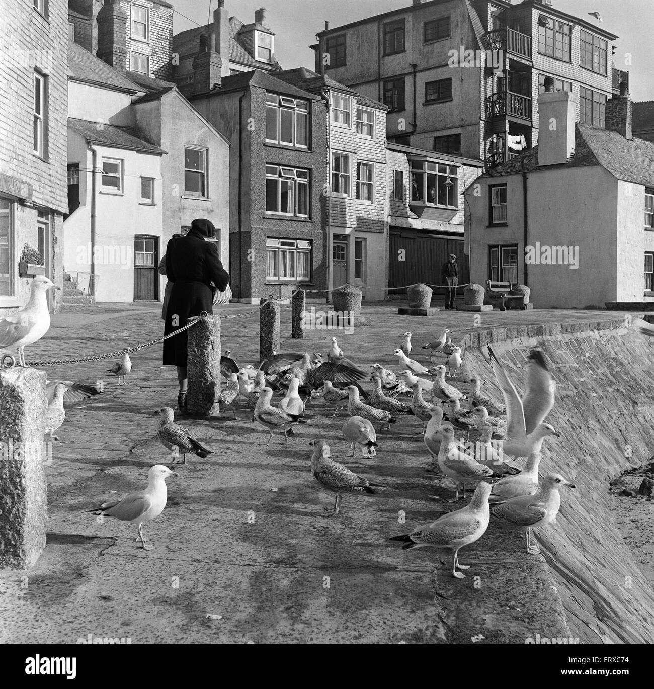 A general view of The Wharf, St Ives, Cornwall. 15th February 1954. - Stock Image