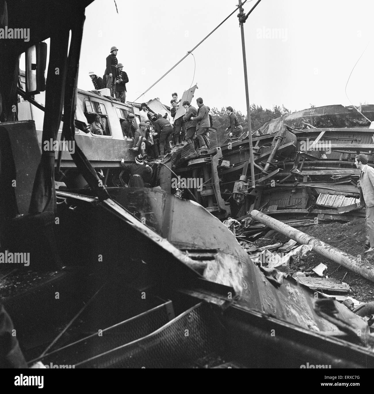 The Hixon rail crash occurred on 6 January 1968 when a low-loader transporter carrying a 150 ton electrical transformer - Stock Image