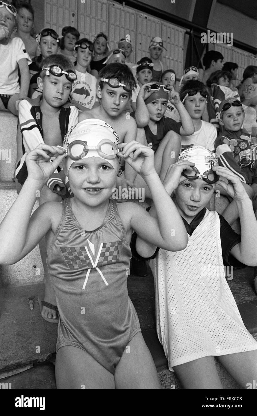 Borough of Kirklees (BOK) Tiger Sharks swimming gala at Cambridge Road Baths. 30th November 1991. - Stock Image