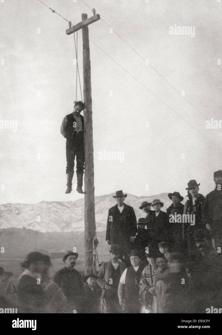 The Lynching of George R. Witherell, convicted of the murder of Mr. Wahl in 1871 who receiving a pardon from Governor - Stock Image