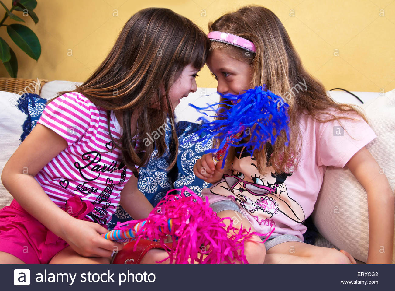 Girls during birthday party - Stock Image