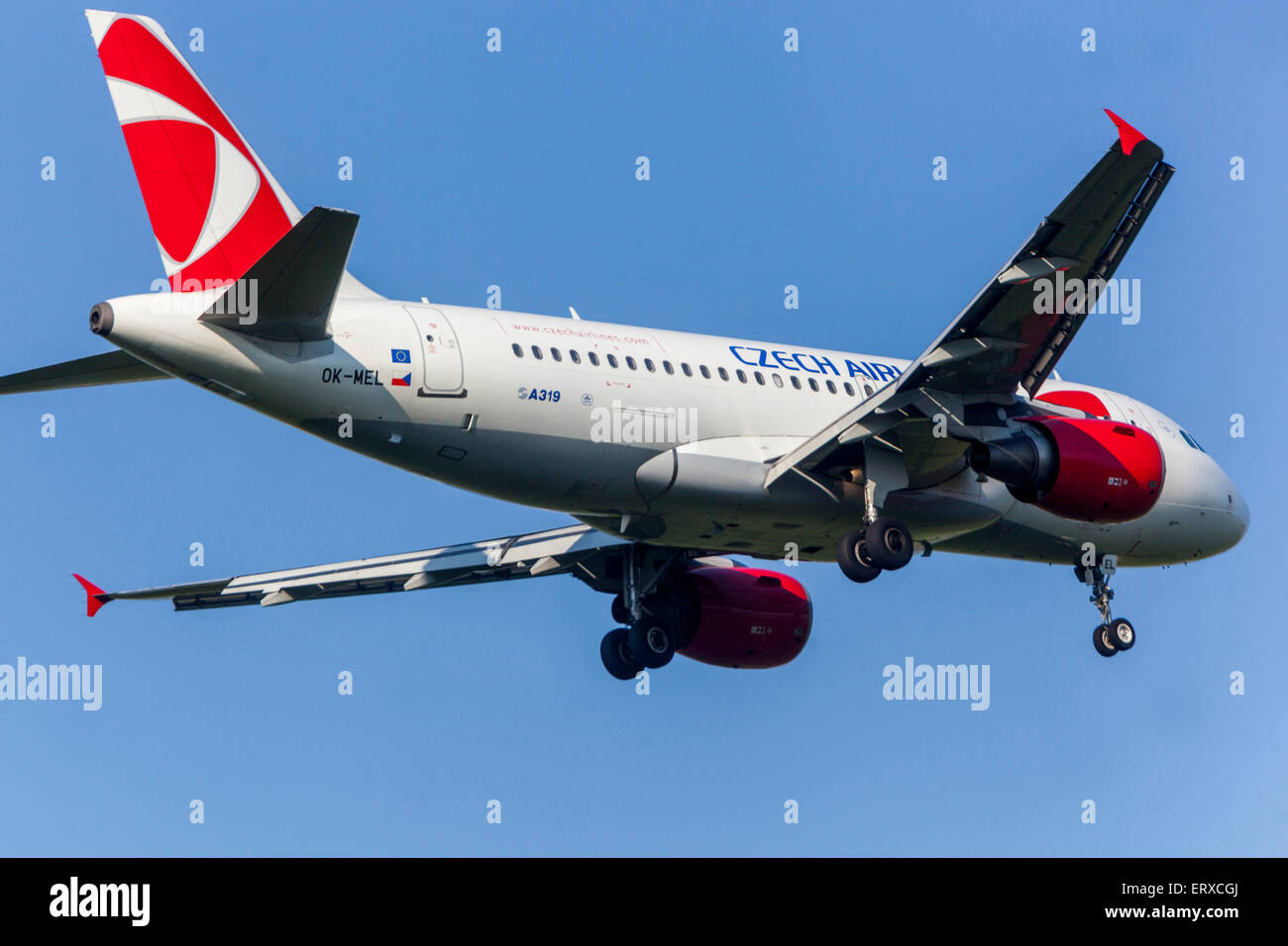 Airbus A319 operated by Czech Airlines on approach for landing Prague, Czech Republic - Stock Image