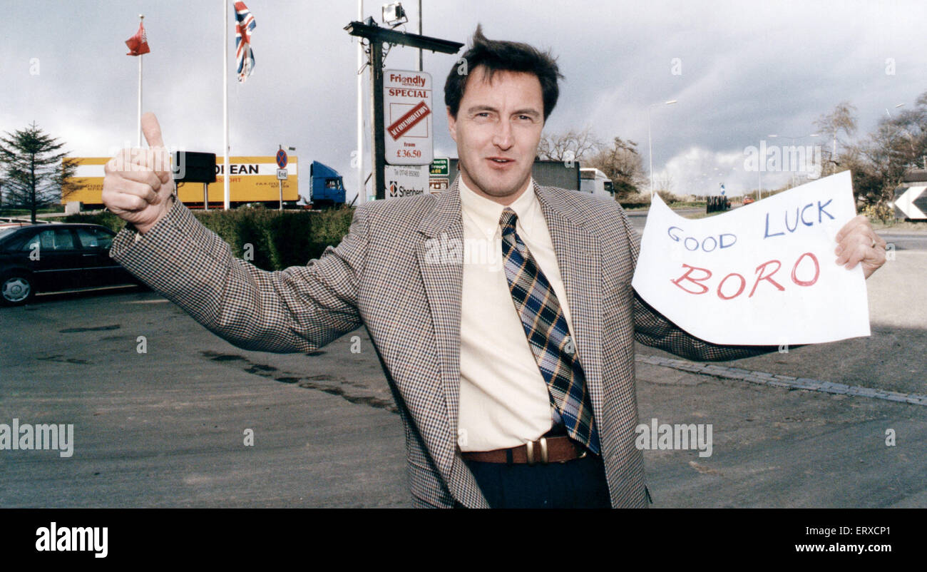 Ex Boro footballer David Hodgson, wishes his old team the best of luck, 19th April 1995. - Stock Image