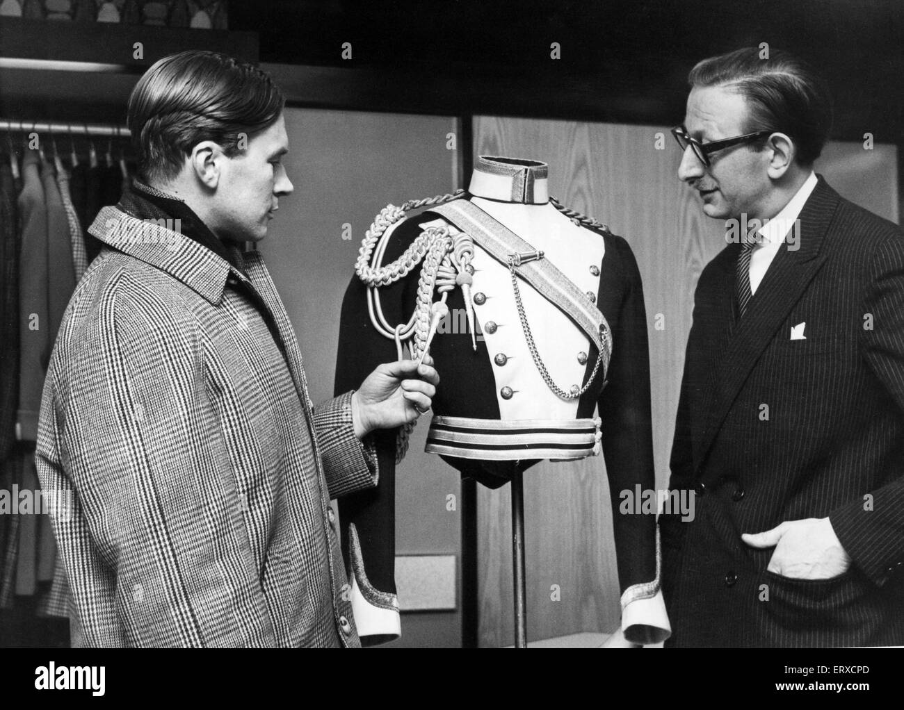 Officers Uniform, the Glamorgan Yeomanry (1908) at Moss Brothers, The Hayes, Cardiff, Wales, 10th January 1966. - Stock Image